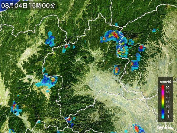 群馬県の雨雲レーダー(2016年08月04日)