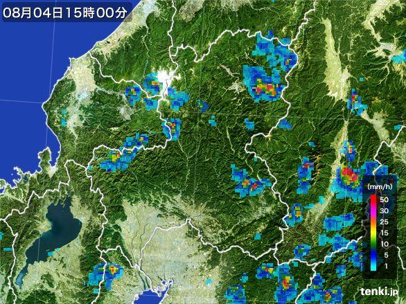 岐阜県の雨雲レーダー(2016年08月04日)
