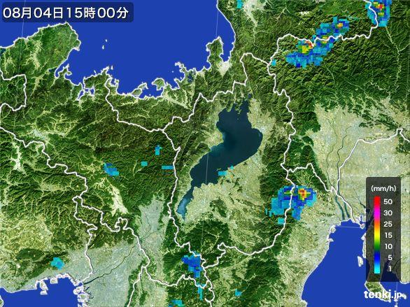滋賀県の雨雲レーダー(2016年08月04日)