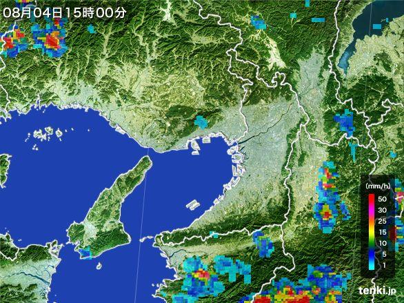 大阪府の雨雲レーダー(2016年08月04日)