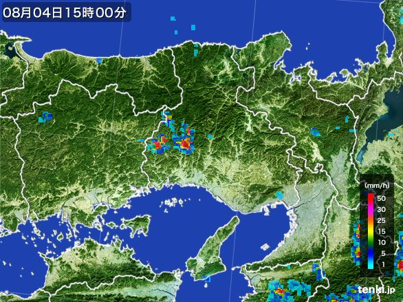 兵庫県の雨雲レーダー(2016年08月04日)