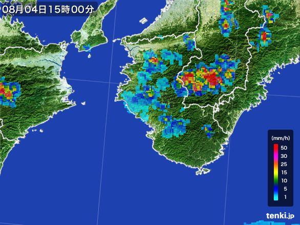 和歌山県の雨雲レーダー(2016年08月04日)
