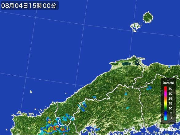 島根県の雨雲レーダー(2016年08月04日)