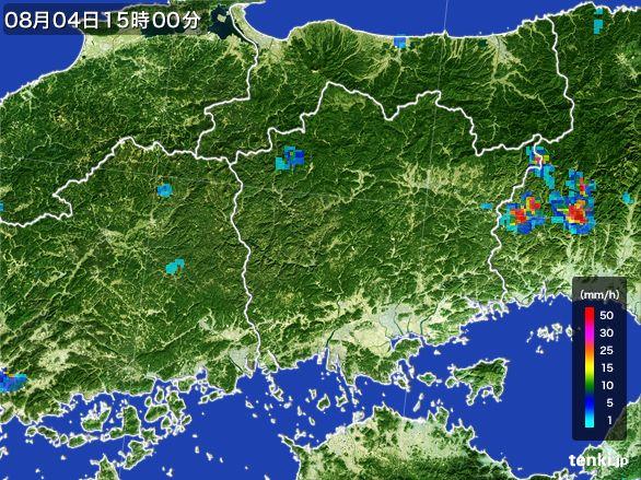 岡山県の雨雲レーダー(2016年08月04日)