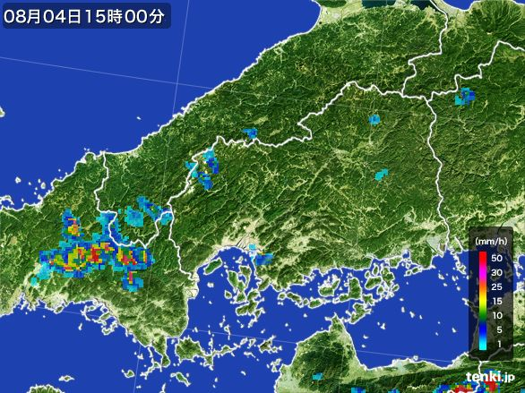 広島県の雨雲レーダー(2016年08月04日)
