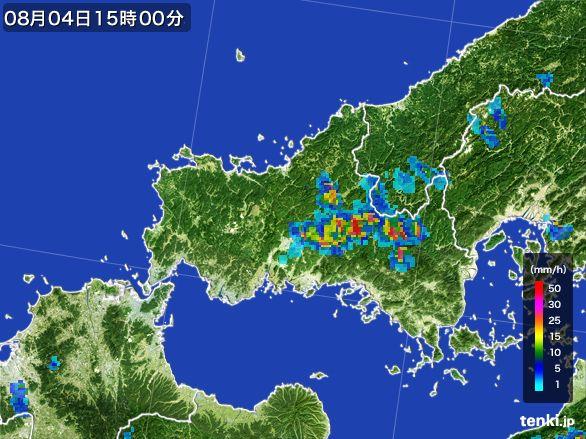 山口県の雨雲レーダー(2016年08月04日)