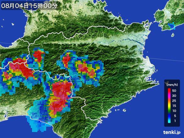 徳島県の雨雲レーダー(2016年08月04日)