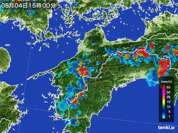 愛媛県の雨雲レーダー(2016年08月04日)