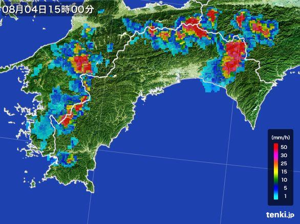 高知県の雨雲レーダー(2016年08月04日)