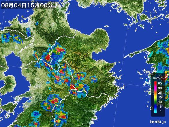 大分県の雨雲レーダー(2016年08月04日)
