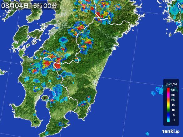 宮崎県の雨雲レーダー(2016年08月04日)
