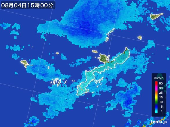 沖縄県の雨雲レーダー(2016年08月04日)
