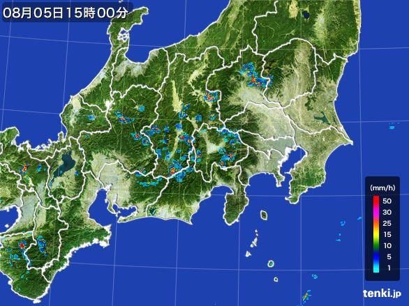 関東・甲信地方の雨雲レーダー(2016年08月05日)
