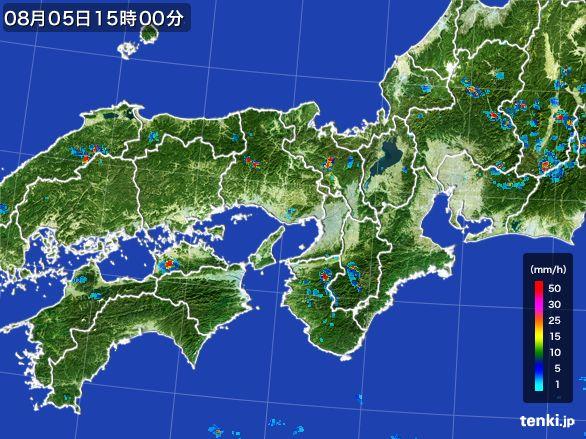 近畿地方の雨雲レーダー(2016年08月05日)
