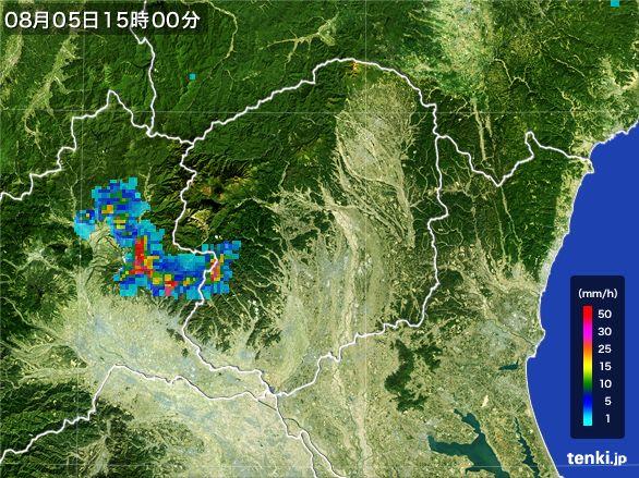 栃木県の雨雲レーダー(2016年08月05日)