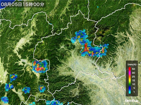 群馬県の雨雲レーダー(2016年08月05日)