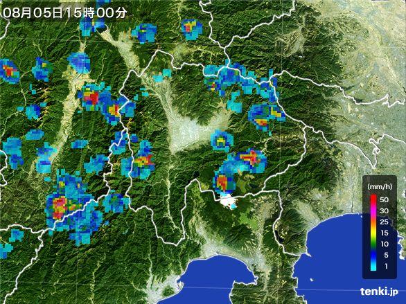 山梨県の雨雲レーダー(2016年08月05日)