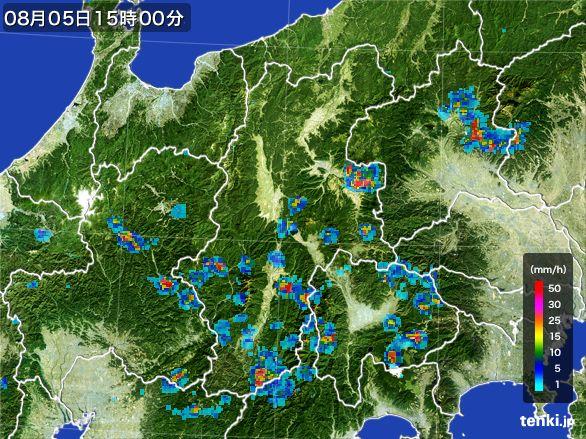長野県の雨雲レーダー(2016年08月05日)