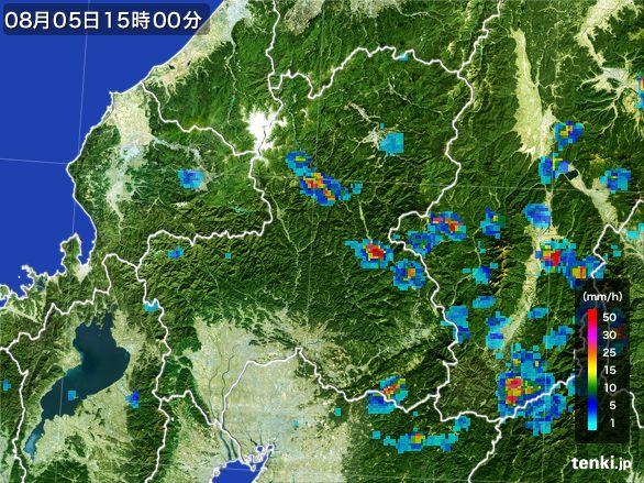 岐阜県の雨雲レーダー(2016年08月05日)