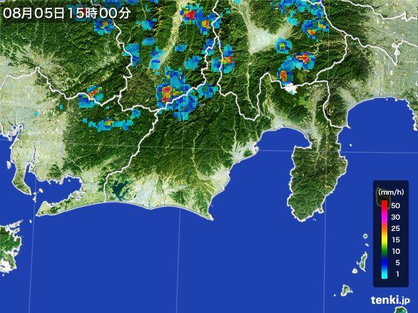 静岡県の雨雲レーダー(2016年08月05日)