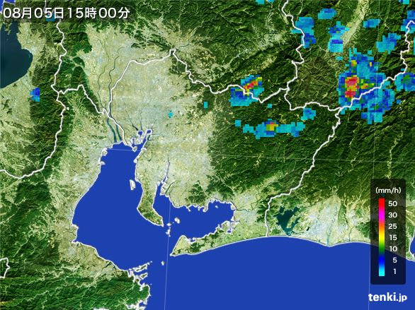 愛知県の雨雲レーダー(2016年08月05日)