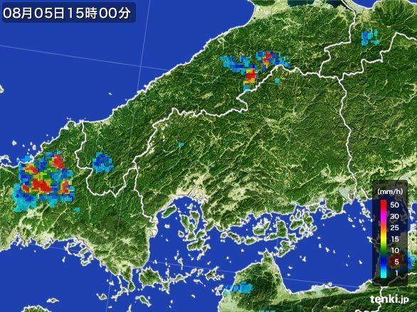 広島県の雨雲レーダー(2016年08月05日)
