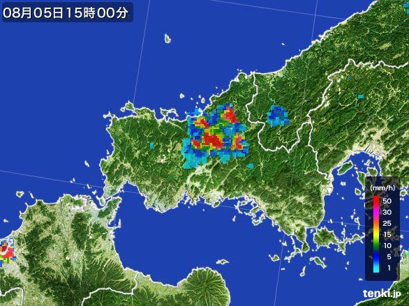 山口県の雨雲レーダー(2016年08月05日)