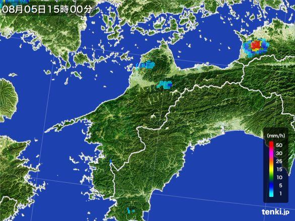 愛媛県の雨雲レーダー(2016年08月05日)