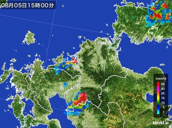 福岡県の雨雲レーダー(2016年08月05日)