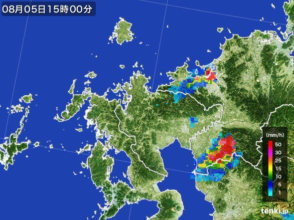 佐賀県の雨雲レーダー(2016年08月05日)