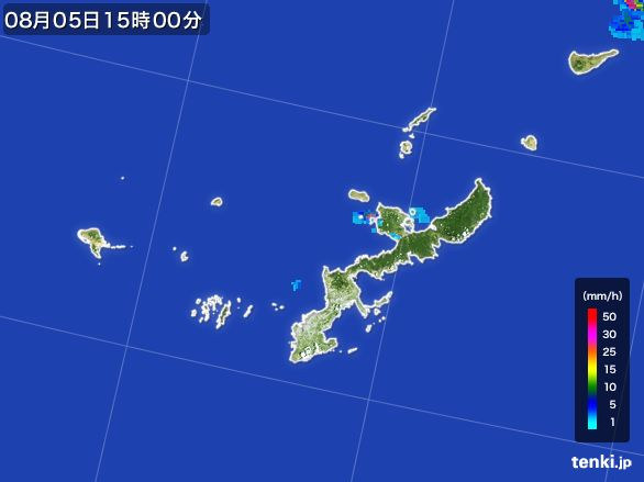 沖縄県の雨雲レーダー(2016年08月05日)