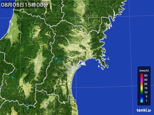宮城県の雨雲レーダー(2016年08月05日)