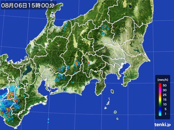 関東・甲信地方の雨雲レーダー(2016年08月06日)