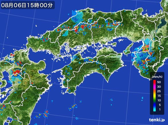 四国地方の雨雲レーダー(2016年08月06日)