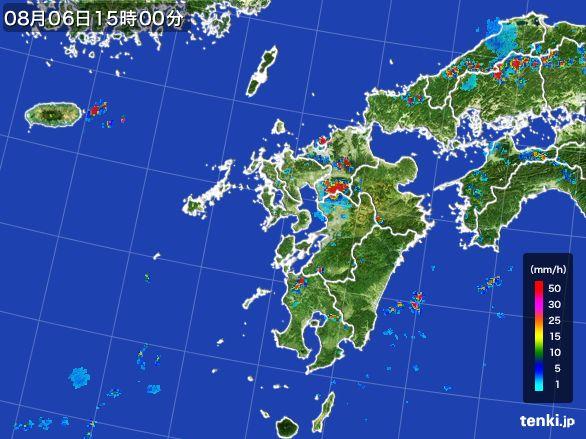 九州地方の雨雲レーダー(2016年08月06日)