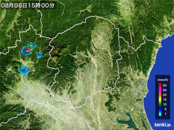 栃木県の雨雲レーダー(2016年08月06日)