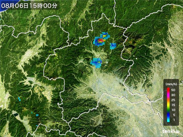 群馬県の雨雲レーダー(2016年08月06日)