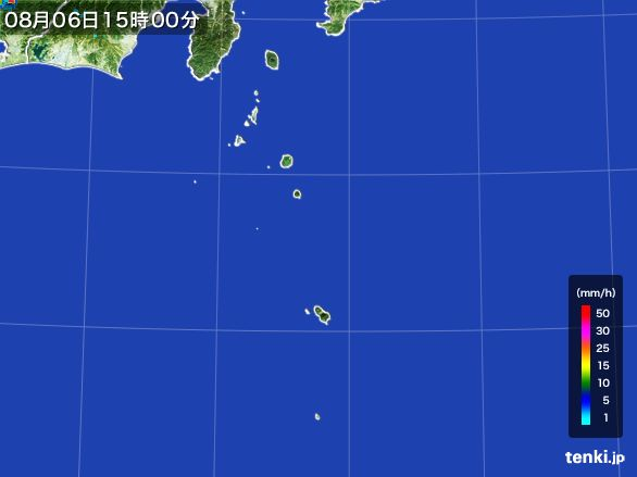 伊豆諸島(東京都)の雨雲レーダー(2016年08月06日)
