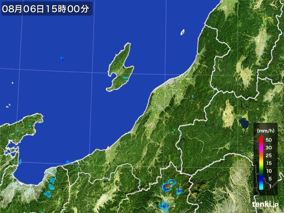 新潟県の雨雲レーダー(2016年08月06日)