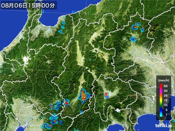 長野県の雨雲レーダー(2016年08月06日)