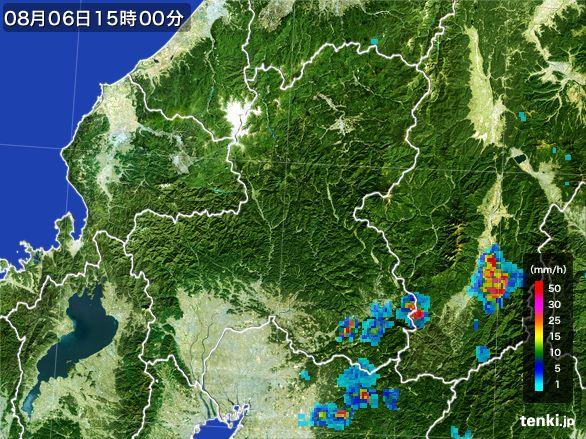 岐阜県の雨雲レーダー(2016年08月06日)