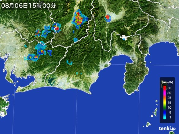 静岡県の雨雲レーダー(2016年08月06日)