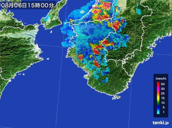 和歌山県の雨雲レーダー(2016年08月06日)