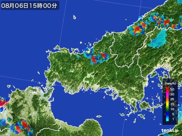 山口県の雨雲レーダー(2016年08月06日)