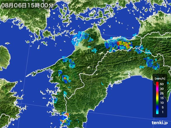 愛媛県の雨雲レーダー(2016年08月06日)