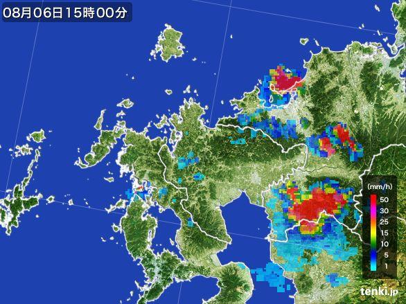 佐賀県の雨雲レーダー(2016年08月06日)