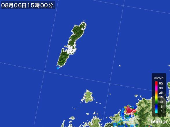 壱岐・対馬(長崎県)の雨雲レーダー(2016年08月06日)