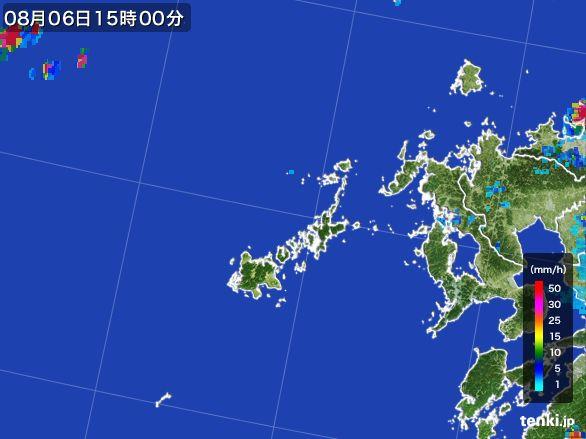 五島列島(長崎県)の雨雲レーダー(2016年08月06日)