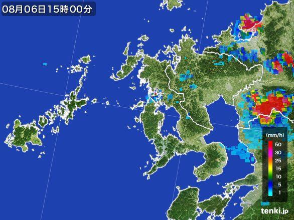 長崎県の雨雲レーダー(2016年08月06日)