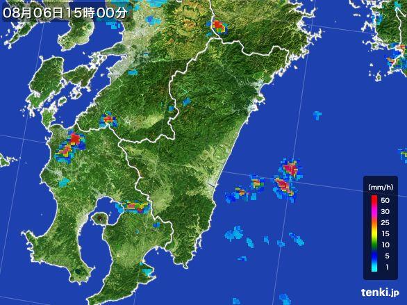 宮崎県の雨雲レーダー(2016年08月06日)